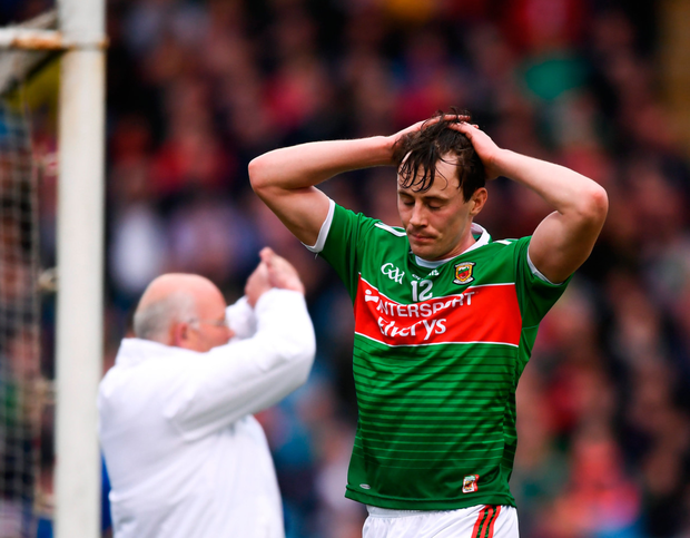Diarmuid O'Connor shows his disappointment as his shot is waved wide. Photo: Stephen McCarthy. Photo: Stephen McCarthy