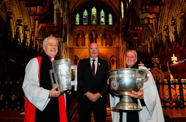 GAA president John Horan with Archbishop of Dublin Michael Jackson (left), and Rev Charles Mullen, Dean's Vicar of St Patrick's Cathedral, at an ecumenical service in St Patrick's celebrating the contribution to the GAA by all faiths. Photo: Sportsfile
