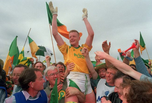 Declan Darcy is carried from the field after the 1994 Connacht final