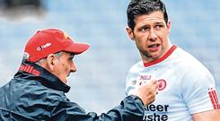Sean Cavanagh (R) expects Mickey Harte to have his troops fired up for Longford. Photo: Sportsfile