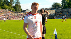 Tyrone's Peter Harte leaves the field after being shown a black card late on in their qualifier win against Cavan. Photo: Sportsfile