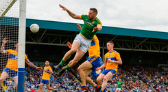 Flying high: Mickey Newman scores Meath's second goal against Clare. The Royals are set to face a stiffer test in the Super 8s. Photo: Sportsfile