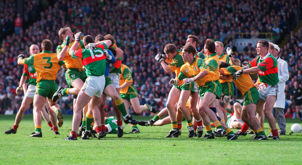 Liam McHale of Mayo and Meath's Colm Coyle were sent off after the brawl in the 1996 final replay. Photo: Ray McManus/Sportsfile