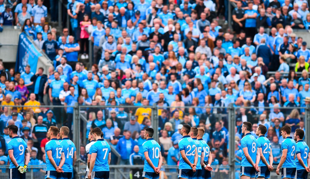 Dublin players standing for the national anthem in front of Hill 16 last Saturday. Photo: Sportsfile