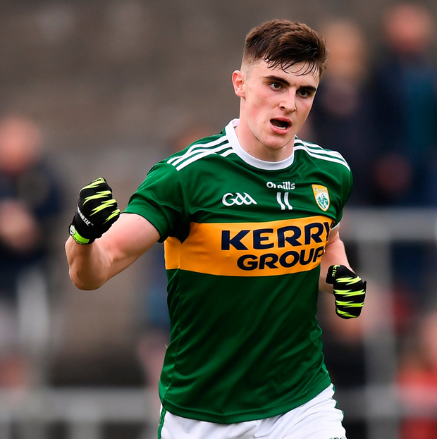Kerry's Seán O'Shea celebrates after scoring his side's second goal. Photo: Sportsfile