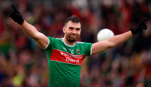 Mayo's Aidan O'Shea celebrates at the final whistle after his side's victory over Donegal in the All-Ireland senior football Super 8 clash at Elvery's MacHale Park last night. Photo: Sportsfile