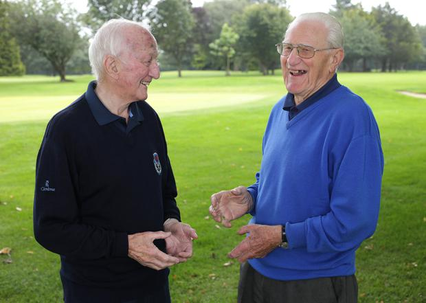 Dublin legends Norman Allen, right, and Jimmy Gray remember happy times at Clontarf Golf Club. Photo: Damien Eagers. Photo: Damien Eagers / INM