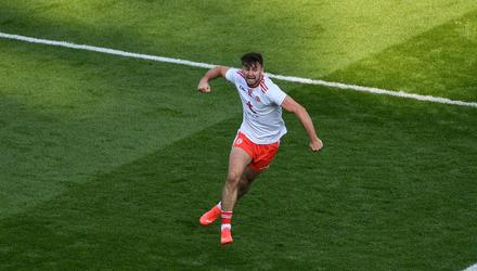 Conor McKenna celebrates after scoring Tyrone's third goal during their All-Ireland SFC semi-final victory over Kerry. Photo: Daire Brennan/Sportsfile