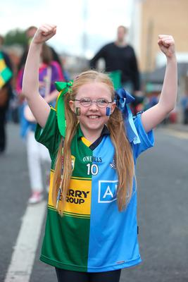 Rosin O'Brien, 8, from Sandyford, pictured before the All Ireland Football Final between Dublin and Kerry at Croke Park