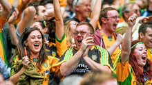 Donegal fans celebrate during the GAA Football All-Ireland Senior Championship Semi-Final against Dublin