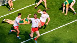 Cathal McShane of Tyrone celebrates after scoring his side's second goal during the GAA Football All-Ireland Senior Championship semi-final match between Kerry and Tyrone at Croke Park in Dublin. Photo by Daire Brennan/Sportsfile