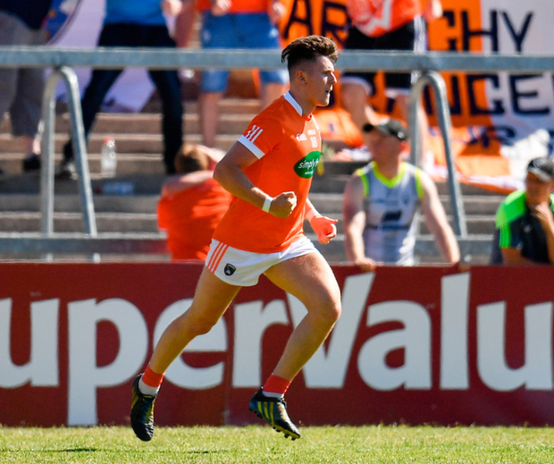 Stephen Sheridan of Armagh celebrates after scoring his side's crucial second goal. Photo: Seb Daly/Sportsfile