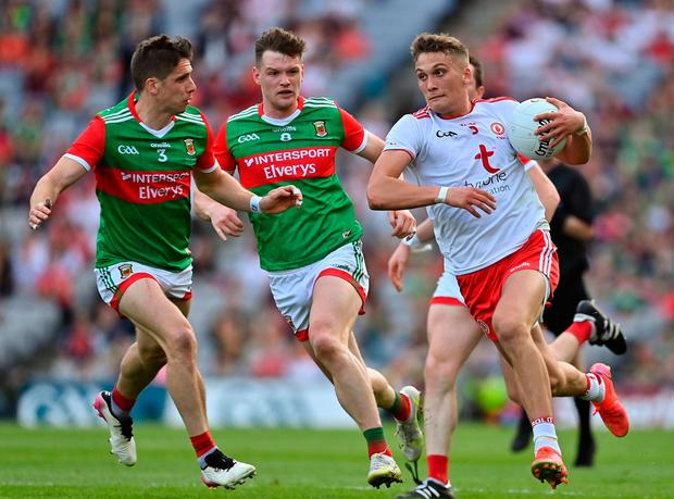 Conn Kilpatrick of Tyrone in action against Lee Keegan of Mayo during the All-Ireland football final