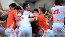 Armagh and Tyrone players clash during the first half of Sunday's Dr McKenna Cup encounter at the Athletic Grounds