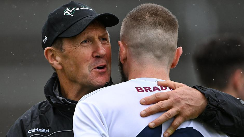 Kildare manager Jack O'Connor celebrates with Neil Flynn after their side's victory over Offaly in the Leinster SFC quarter-final