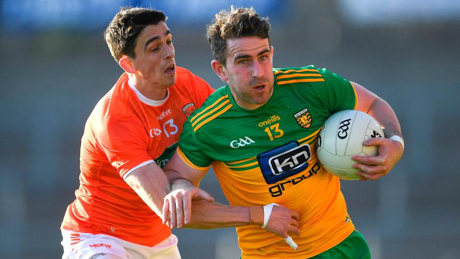 Donegal's Paddy McBrearty in action against Armagh's Rory Grugan during last weekend's Allianz FL Division 1 North tie at the Athletic Grounds, Armagh. Photo: Piaras Ó Mídheach/Sportsfile