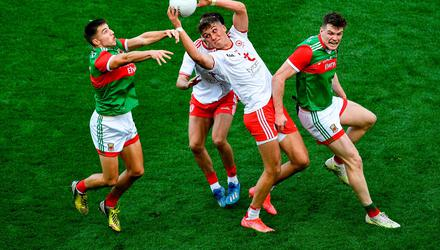 Conn Kilpatrick of Tyrone catches a ball ahead of Enda Hession, left, and Matthew Ruane of Mayo, which resulted in his side's second goal in the All-Ireland final. But where were the Mayo tackles and cover? Photo: Daire Brennan/Sportsfile