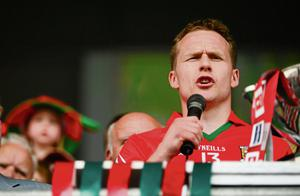 Andy Moran makes his speech to accept last year's Connacht SFC trophy