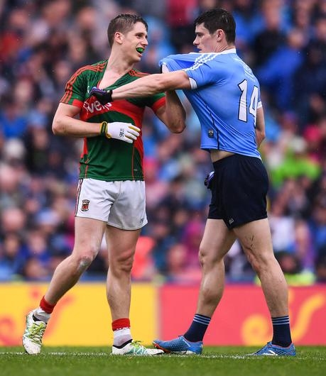 Mayo's Lee Keegan and Dublin's Diarmuid Connolly get shirty during the 2016 All-Ireland SFC final