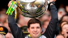 Kerry manager Eamonn Fitzmaurice lifts the Sam Maguire cup. GAA Football All Ireland Senior Championship Final, Kerry v Donegal. Croke Park, Dublin