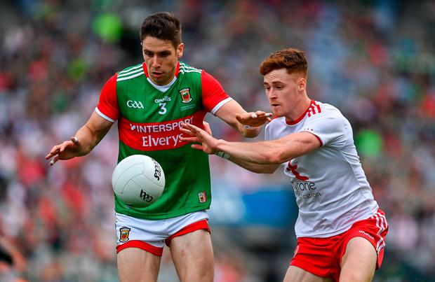 Lee Keegan of Mayo and Conor Meyler of Tyrone have been nominated for PwC GAA/GPA Footballer of the Year. Credit: Sportsfile
