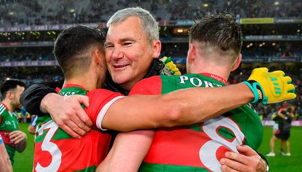 Mayo manager James Horan celebrates with Tommy Conroy, left, and Matthew Ruane after their side's victory over Dublin in the All-Ireland semi-final. Photo: Seb Daly/Sportsfile