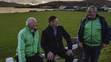 Achill GAA club officials Paul McNamara, Manager, Hughie Mcginty, Treasurer and Marty Gallagher, Chairman on the pitch at Achill Sound, Achill Island, Co. Mayo