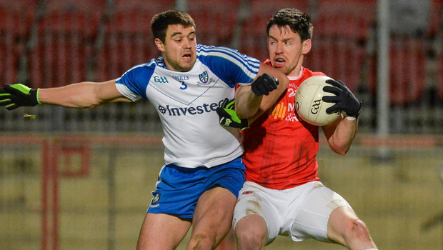 Tyrone's Matthew Donnelly in action against Drew Wylie of Monaghan. Photo: Oliver McVeigh