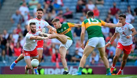 Kerry's Adrian Spillane has his shot blocked by Tyrone's Ronan McNamee during their All-Ireland SFC semi-final at Croke Park. Photo: Stephen McCarthy/Sportsfile