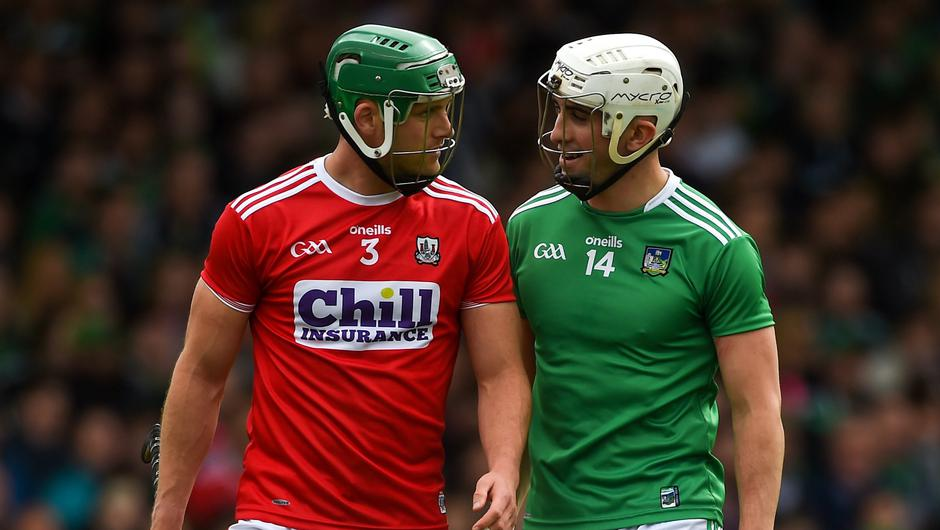 Cork's Eoin Cadogan and Limerick's Aaron Gillane during the 2019 Munster SHC Round 2 at the LIT Gaelic Grounds. Photo: Diarmuid Greene/Sportsfile