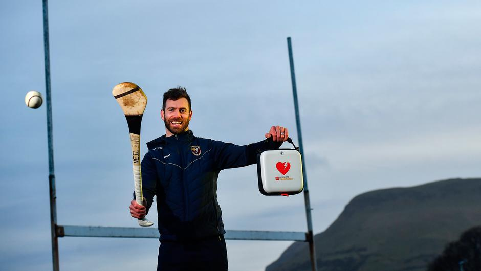Antrim hurler Neil McManus at Cushendall GAA Club in Antrim. Neil is an ambassador for the GAA Community Heart Programme. Photo by David Fitzgerald/Sportsfile