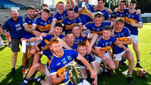 Captain Paul Flynn celebrates with his Kiladangan teammates after their Tipperary SHC victory. Photo: Sportsfile