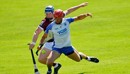 Galway's Joe Canning tackles Seamus Keating of Waterford during the Allianz League clash at Pearse Stadium. Photo: Ramsey Cardy/Sportsfile