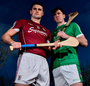 Johnny Coen of Galway and Limerick's Diarmuid Byrnes will battle it out at Pearse Stadium tomorrow. Photo: Sportsfile