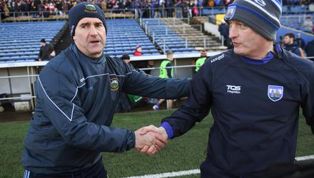 Tipperary manager Liam Sheedy (left) shakes hands with Waterford manager Liam Cahill after a league game last season. Photo: Sportsfile