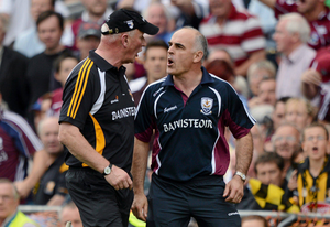 Brian Cody and Anthony Cunningham dispute a late Galway free during the 2012 All-Ireland final