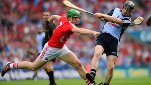 David O'Callaghan in action for Dublin against Cork's William Egan during the 2013 All-Ireland SHC semi-final at Croke Park. Photo: Sportsfile