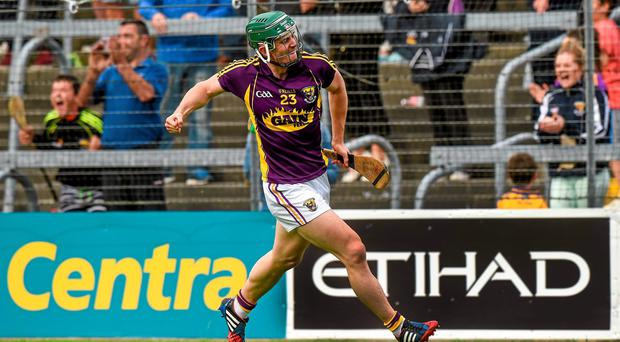 Wexford's Harry Kehoe celebrates after scoring the second Wexford goal late in the first half of extra time