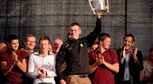 Kilkenny captain Lester Ryan lifts the Liam MacCarthy Cup during the homecoming celebrations in the Marble City. Photo: Sportsfile.