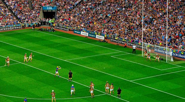 Tipperary's Séamus Callanan strikes his penalty over the bar during last year's All-Ireland SHC final. A motion at Congress proposes a one-on-one penalty from 20 metres