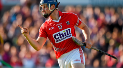 Cork's Conor Lehane celebrates after getting an early goal in last night's 2-22 to 0-20 win over Wexford and, inset, Clare's Conor McGrath shoots to score his side's first goal in the win over Offaly