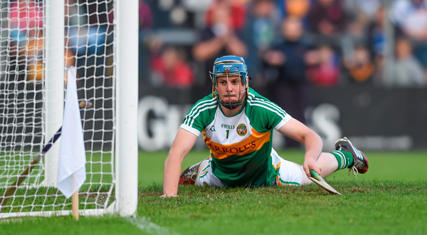 Offaly's James Dempsey fails to stop Clare's second goal