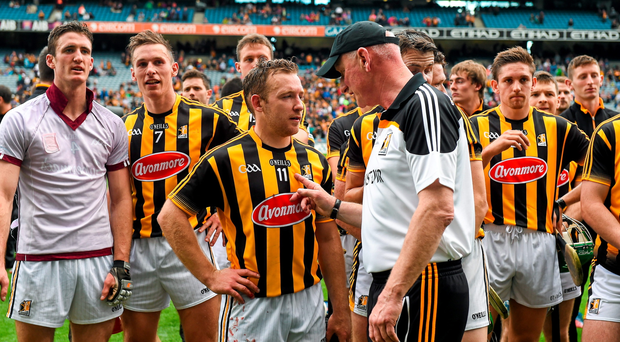 Kilkenny manager Brian Cody chats with Richie Hogan after his team's victory against Galway