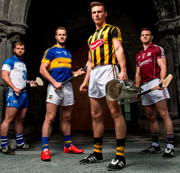 At the launch of the All-Ireland hurling Championship at St Canice's Cathedral, Kilkenny, yesterday were, from left, Waterford's Noel Connors, Tipperary's Kieran Bergin, Kilkenny's Cillian Buckley and Galway's Andy Smith BRENDAN MORAN / SPORTSFILE