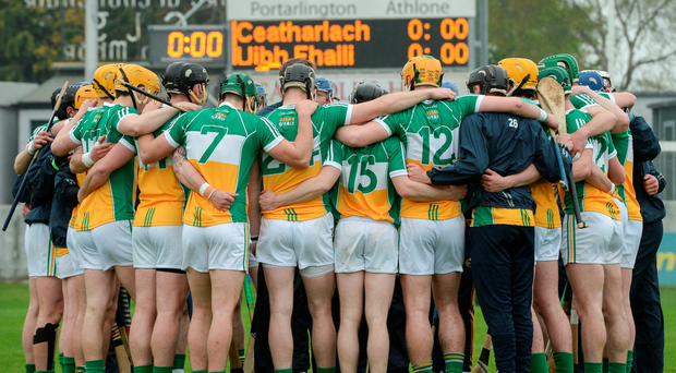 Offaly players huddle before the start of the game against Carlow. Photo: Sportsfile