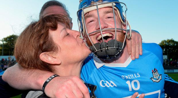 Dublin goalscorer Sean Ryan gets a kiss from his mother Brenda. Photo: Sportsfile