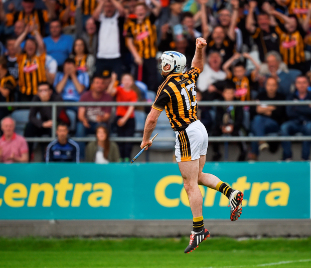 Jonjo Farrell punches the air with delight after finding the net against Dublin. Photo: Ray McManus/Sportsfile