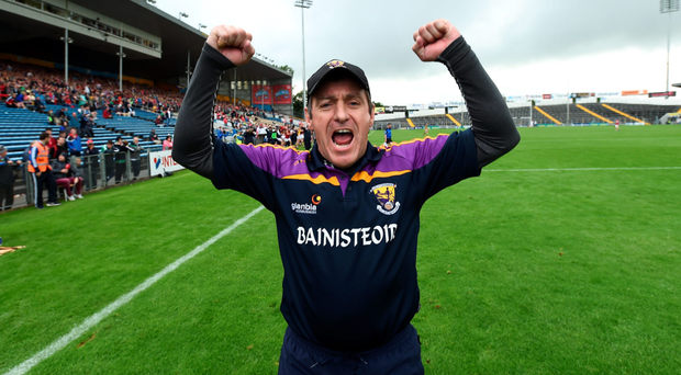 Wexford manager Liam Dunne celebrates yesterday's victory over Cork in Semple Stadium. Photo: Stephen McCarthy
