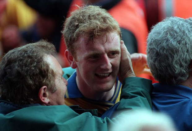 Brian Lohan is congratulated by fans after the 1997 final. Photo: Sportsfile