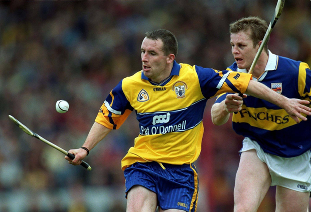 Clare's Colin Lynch and Conor Gleeson of Tipperary show the scars of battle during the 1999 Munster SHC semi-final replay Photo: Sportsfile